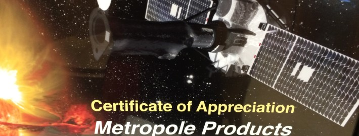 Metropole NASA Certificate Appreciation IRIS Launch